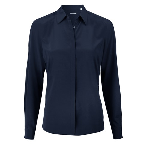 Navy Feminine Silk Shirt, Stretch