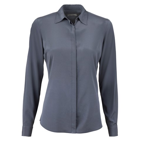 Grey Feminine Silk Shirt