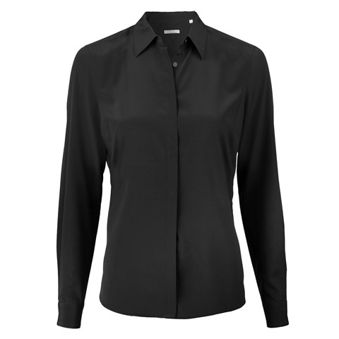 Black Feminine Silk Shirt