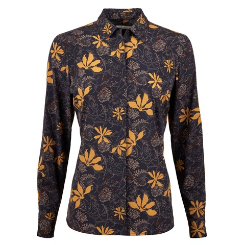 Graphic Flower Patterned Silk Feminine Shirt