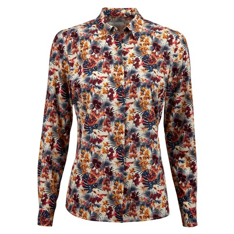 Floral Patterned Feminine Silk Shirt