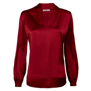 Red V-neck silk bouse