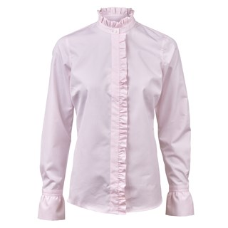 Frill Feminine Blouse With Pinstripes
