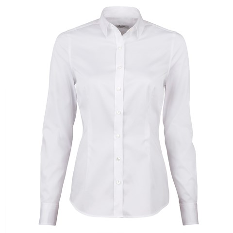 White Slimline Shirt In Satin Stretch