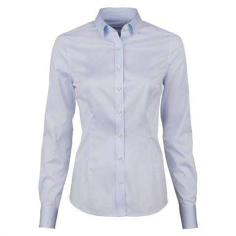 Light Blue Slimline Shirt In Satin Stretch