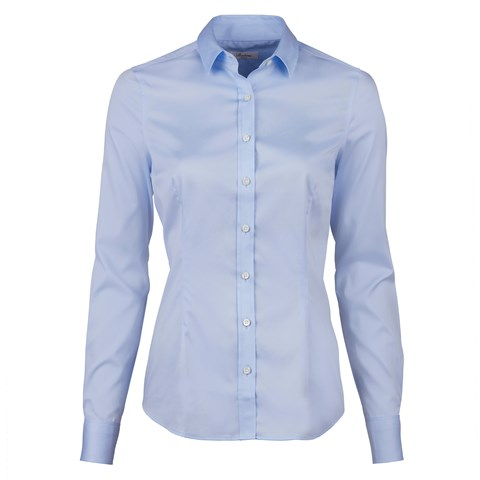 Blue Slimline Shirt In Satin Stretch