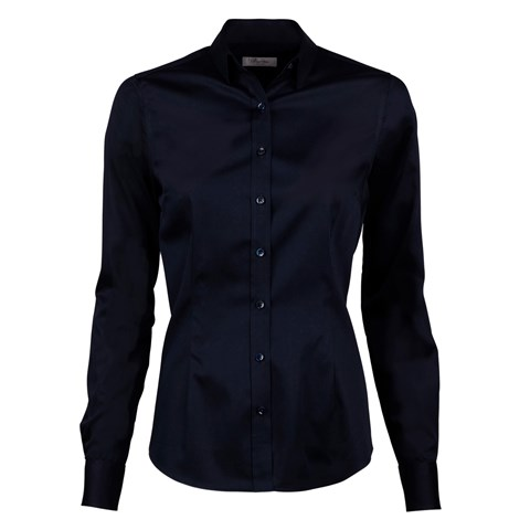 Navy Slimline Shirt In Satin Stretch