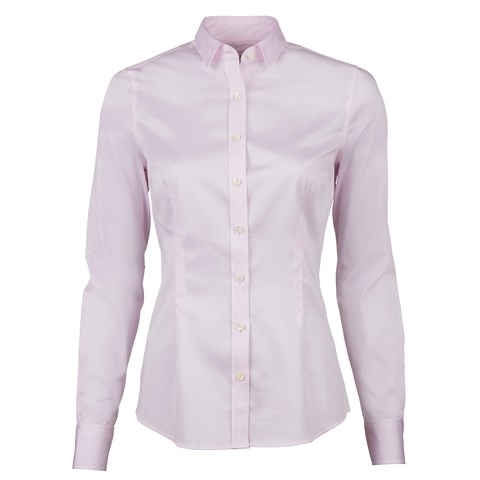 Light Pink Slimline Shirt In Satin Stretch