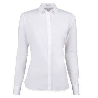 White Slimline Shirt With Jersey Back