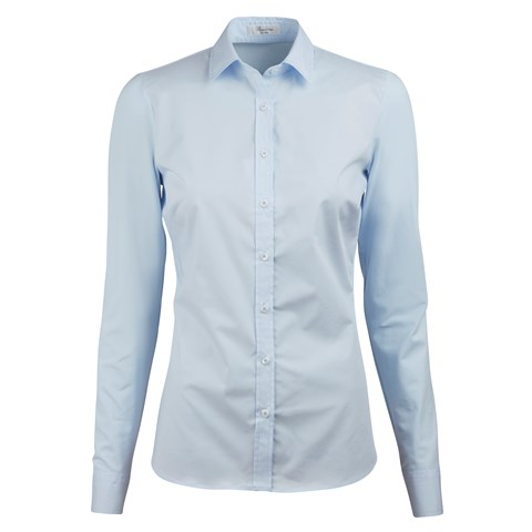 Light Blue Slimline Shirt With Jersey Back