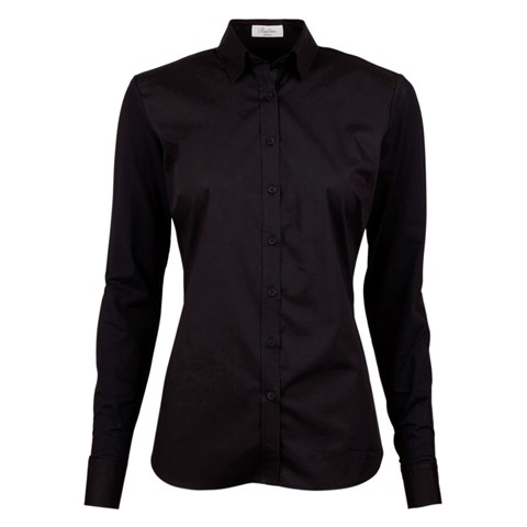 Black Slimline Shirt With Jersey Back