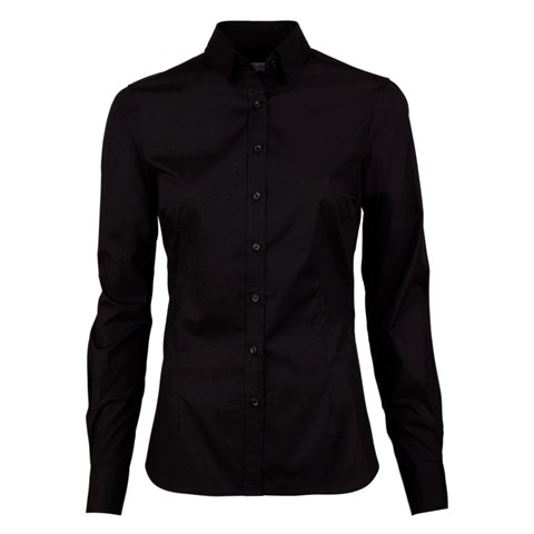 Black Slimline Shirt In Poplin Stretch