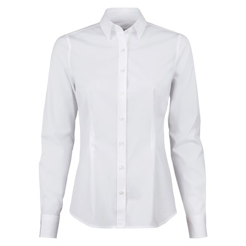 White Slimline Shirt In Poplin Stretch