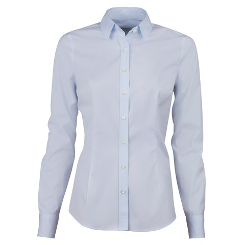 Light Blue Slimline Shirt In Poplin Stretch