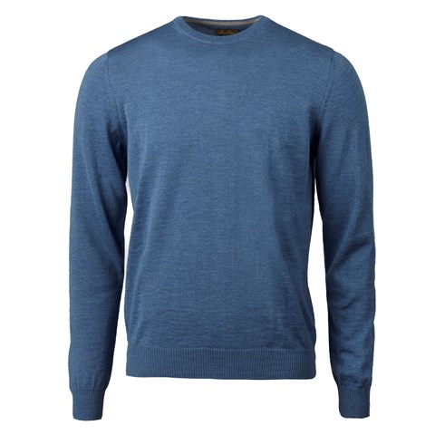 Blue Merino Crew Neck
