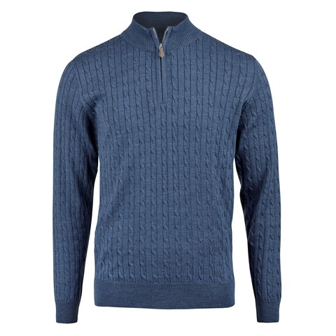 Blue Cable Merino Half Zip
