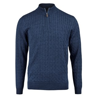 Blue Merino Cable Half Zip