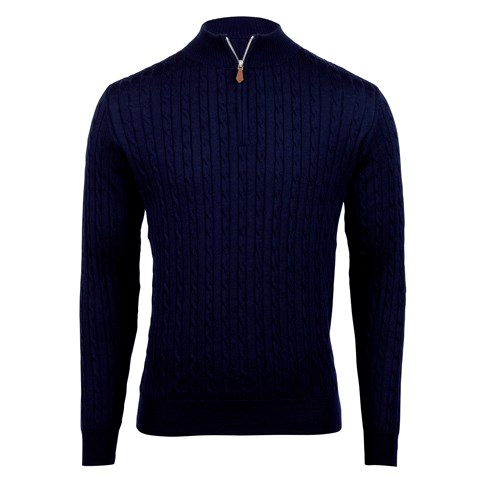 Navy Merino Cable Half Zip