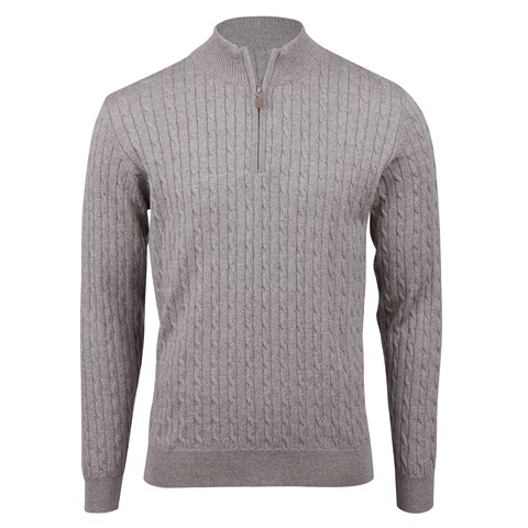 Light Mud Brown Merino Cable Half Zip