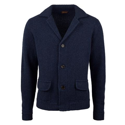 Navy Knitted Merino Cardigan