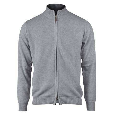 Light Grey Honeycomb Zip Merino Cardigan