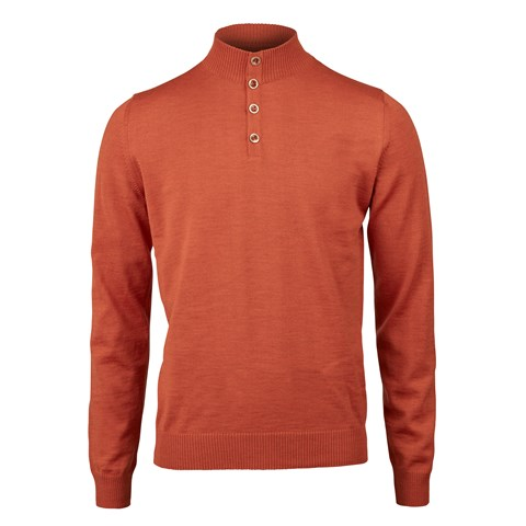 Orange Merino Mock Neck
