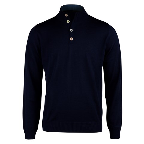 Navy Merino Mock Neck