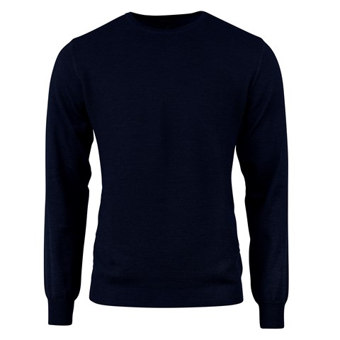 Navy Textured Crew Neck