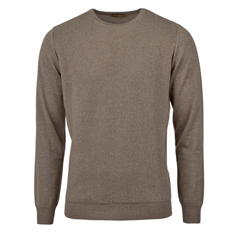 Mud Brown Textured Crew Neck