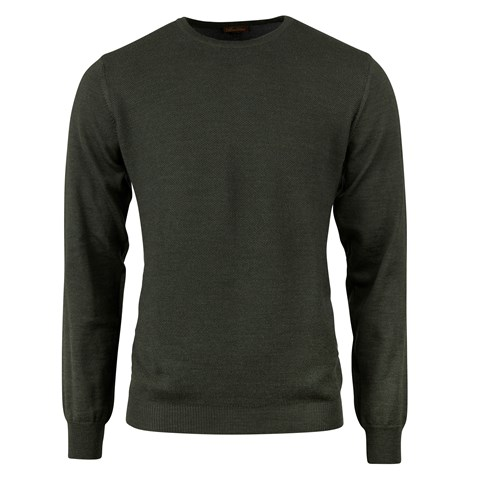 Forest Green Textured Crew Neck