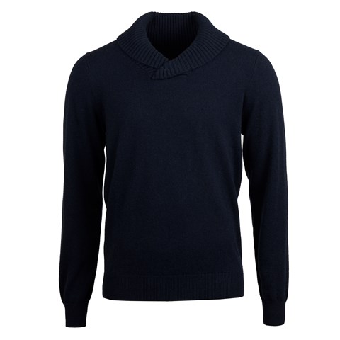 Navy Cashmere Shawl Collar