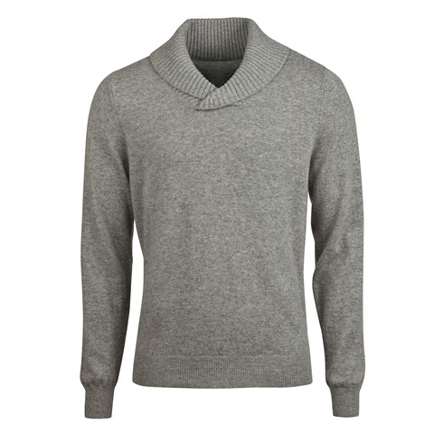 Grey Cashmere Shawl Collar
