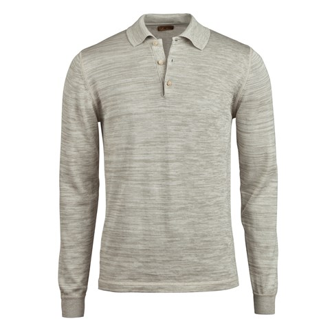 Light Grey Mouliné Polo Shirt, Long Sleeves