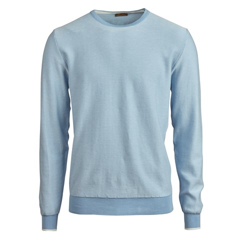 Light Blue Stitched Cotton Crew Neck