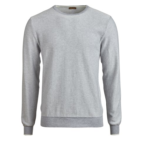 Light Grey Stitched Cotton Crew Neck
