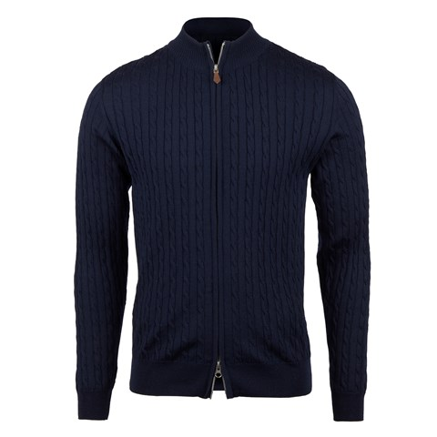 Blue Cable Knit Zip Merino Cardigan