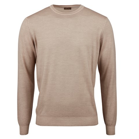 Light Beige Garment Dyed Merino Crew Neck