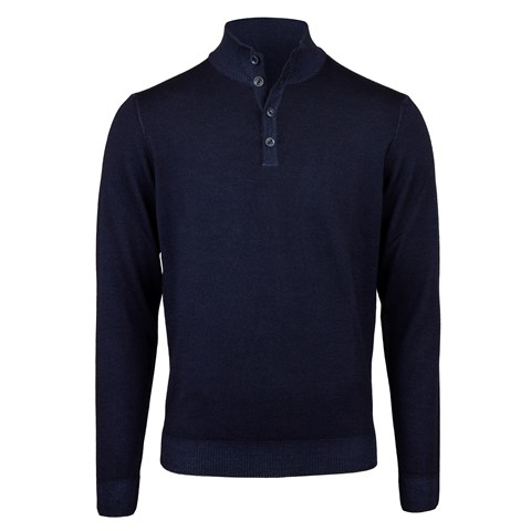 Navy Garment Dyed Merino Mock Neck