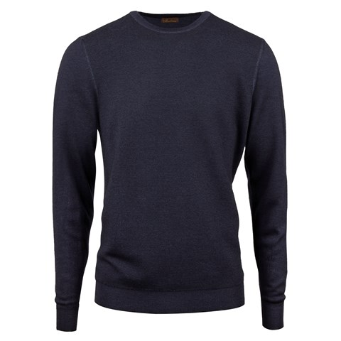 Navy Garment Dyed Honeycomb Merino Crew Neck