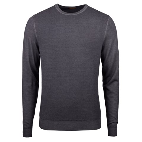 Grey Garment Dyed Honeycomb Merino Crew Neck