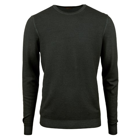 Forest Green Garment Dyed Honeycomb Merino Crew Neck