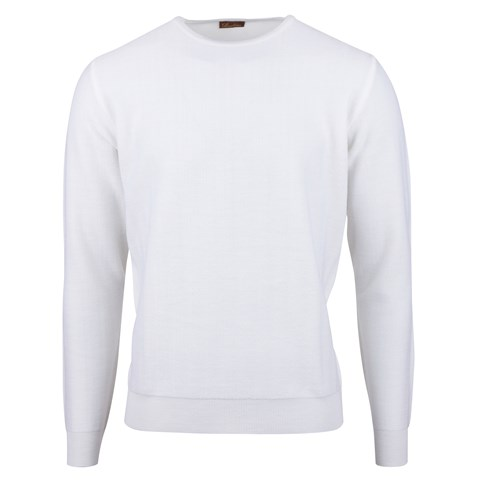 White Herringbone Merino Crew Neck
