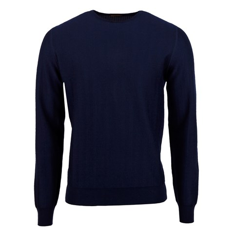 Navy Herringbone Merino Crew Neck