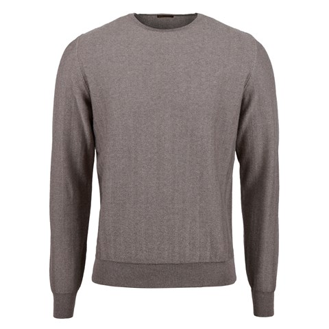 Mud Brown Herringbone Merino Crew Neck
