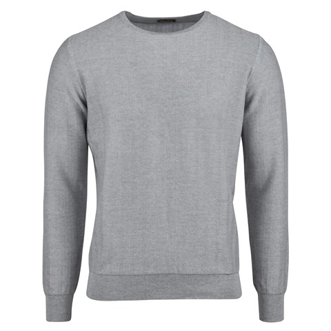 Grey Herringbone Merino Crew Neck