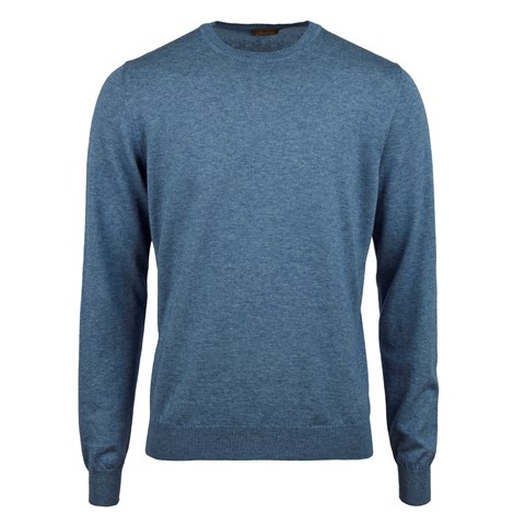 Blue Cotton Merino Crew Neck
