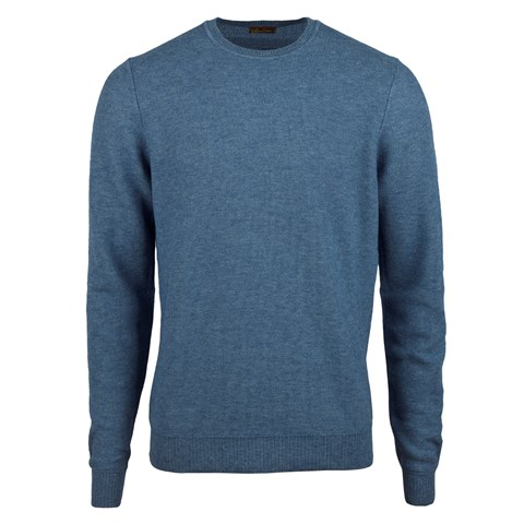 Blue Honeycomb Cotton Merino Crew Neck