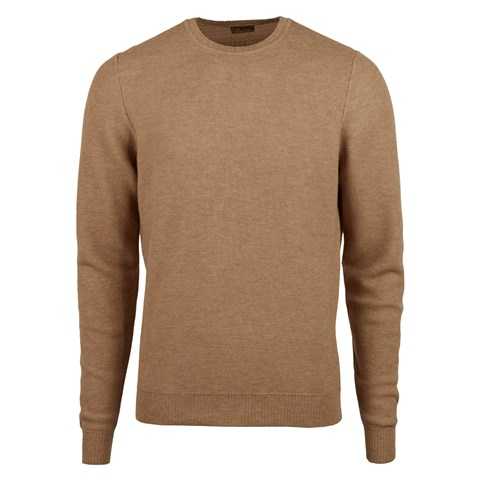 Brown Honeycomb Cotton Merino Crew Neck
