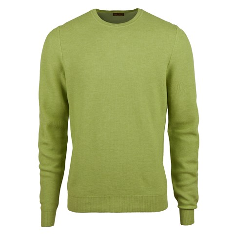 Green Honeycomb Cotton Merino Crew Neck