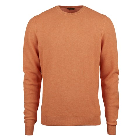 Orange Honeycomb Cotton Merino Crew Neck